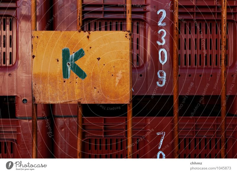 K Box Characters Digits and numbers Brown Yellow Orange Grating Logistics Fishery Fishing boat Storage Depot Stack Arrangement Colour photo