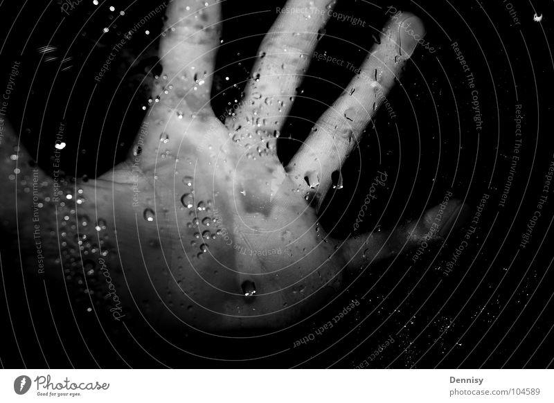 Fear the hand =) Hand Drops of water Dark Window Window pane Fingers Leisure and hobbies Black & white photo