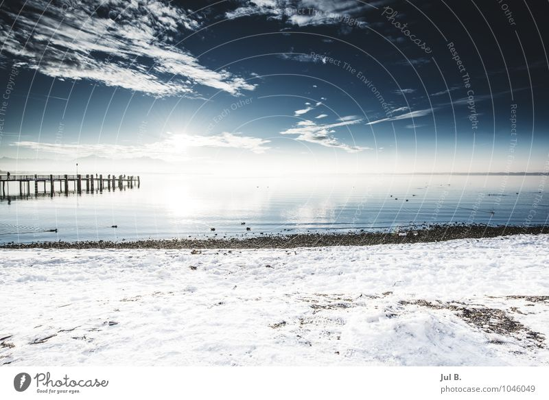 Snow Lake Environment Nature Landscape Air Water Sun Winter Climate Breathe To enjoy Good Lake Chiemsee Traunstein Footbridge Colour photo Exterior shot