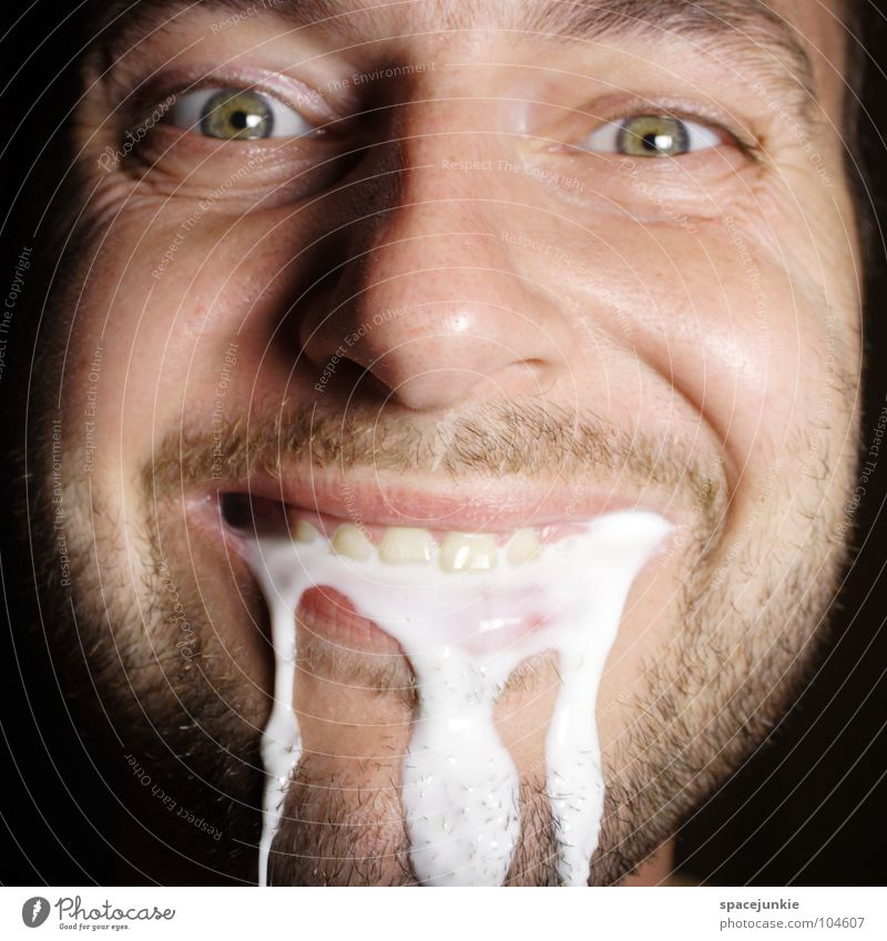Man White Joy Laughter Funny Nutrition Food Wet Whimsical Damp Humor Freak Flow Foam Grimace Milk