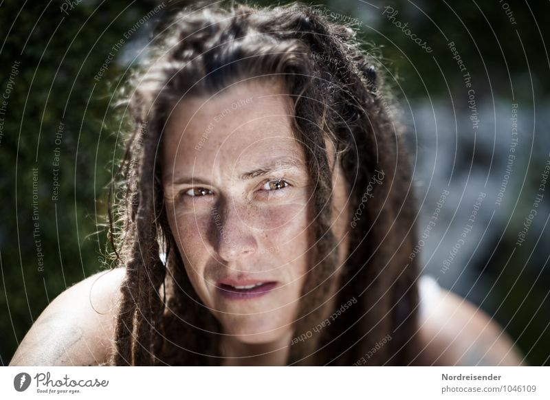 Confident young woman with dreadlocks and freckles looks into the camera Lifestyle Harmonious Well-being Contentment Senses Relaxation Calm Human being Feminine