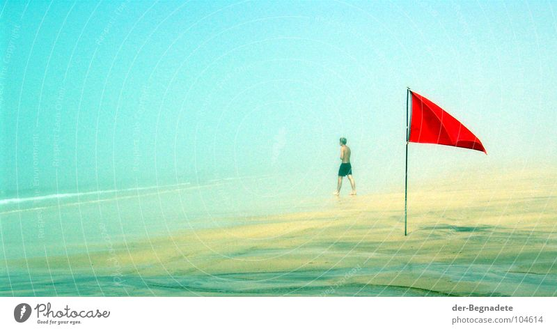 Man Water Ocean Red Beach Vacation & Travel Dark Lanes & trails Lake Sand Coast Waves Planning Adults Fog Dangerous