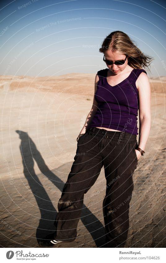 Sun Summer Think Blonde Posture Desert Asia Hot Sunglasses Dust Blue sky Israel Evening sun Negev