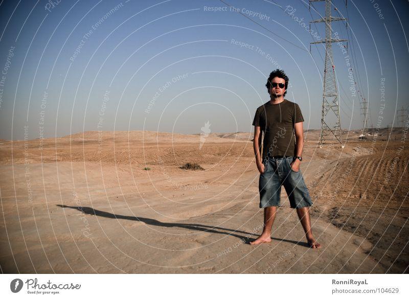 Streamlined Israel Negev Hot Electricity Electricity pylon Sunglasses Evening sun Summer Desert Man Blue Sky Sand Energy industry Shadow