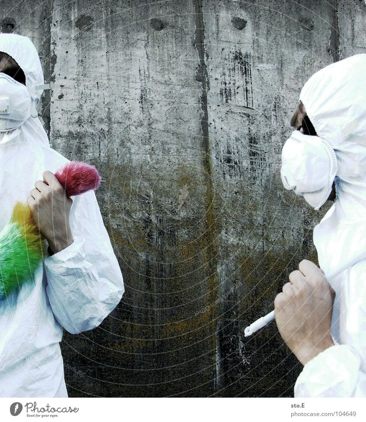 [b/w] profile of a wedel fighter Fellow Posture White Working clothes Quarantine Laboratory Laboratory assistant Cleaning Cleaner Feather duster Multicoloured