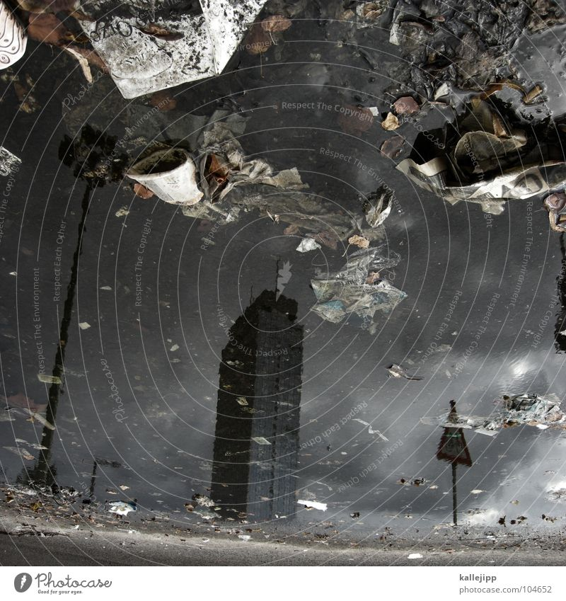 Sky City Street Berlin Rain Dirty Architecture Weather Environment Concrete High-rise Paper Construction site Climate Trash Lantern