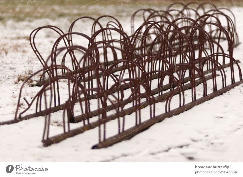. Bicycle rack Means of transport Cycling Old Broken Gloomy Brown White Snow Abstract Colour photo Exterior shot Deserted Day