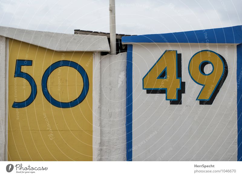 neighbors Vacation & Travel Summer vacation Beach Hut Wall (barrier) Wall (building) Digits and numbers Maritime Clean Blue Yellow White Beach hut
