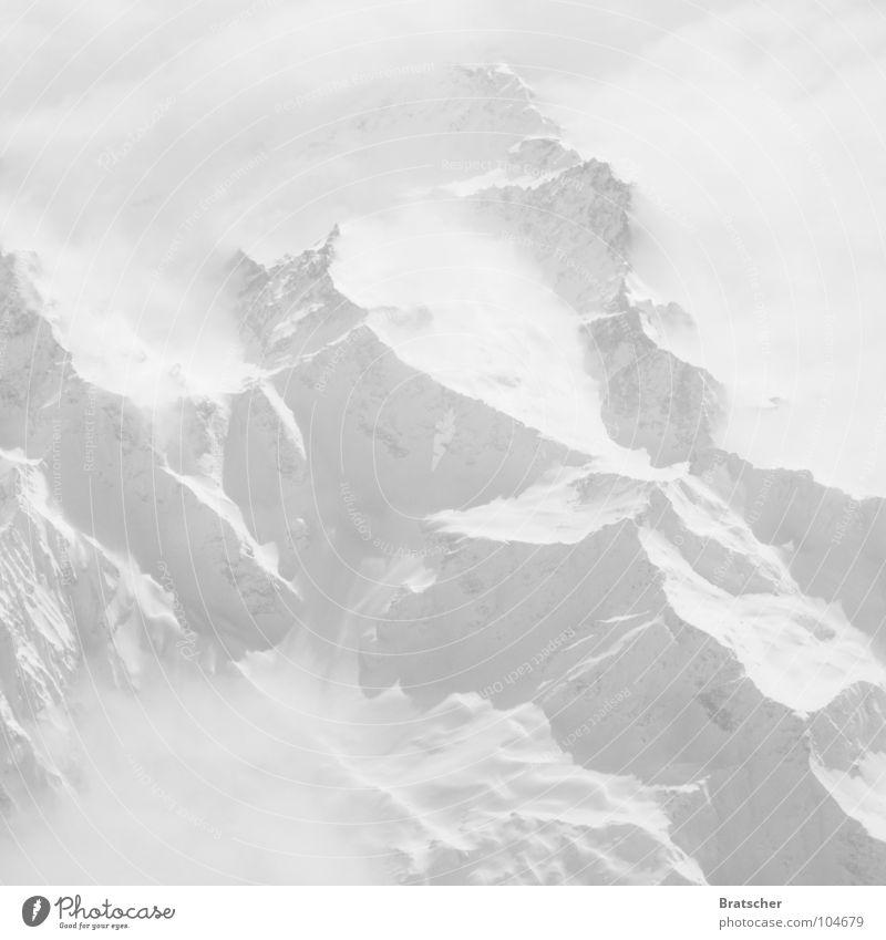 White Clouds Winter Mountain Snow Fog Aviation Tall Airplane Mysterious China Mountaineering Nepal Mountain range Himalayas Yeti