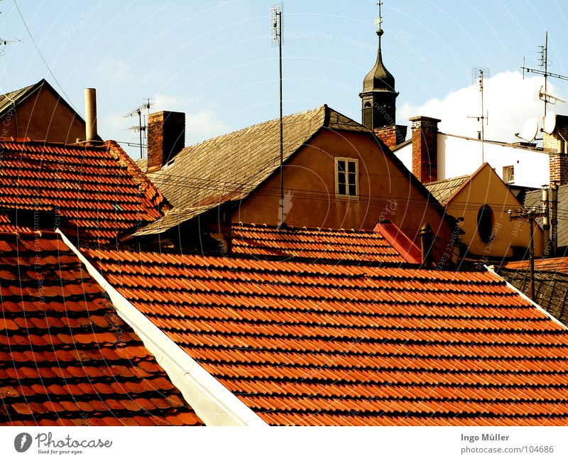 The roofs of the Czech Republic Roof Town House (Residential Structure) Window Vantage point Horizon Americas Sky Looking Tower
