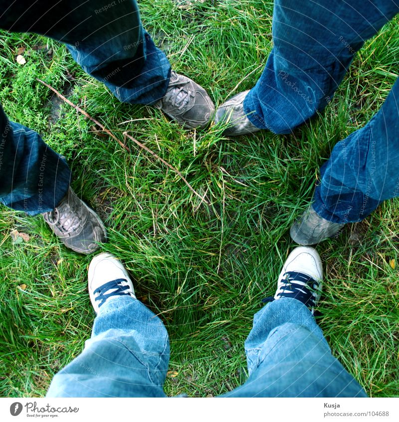 White Green Blue Grass Group Feet Friendship Footwear 3 Pants