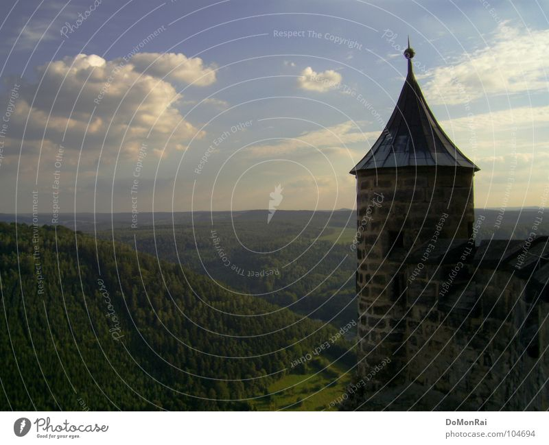 king stone Colour photo Exterior shot Deserted Copy Space left Copy Space bottom Day Bird's-eye view Landscape Sky Clouds Horizon Forest Hill Castle Tower Brick