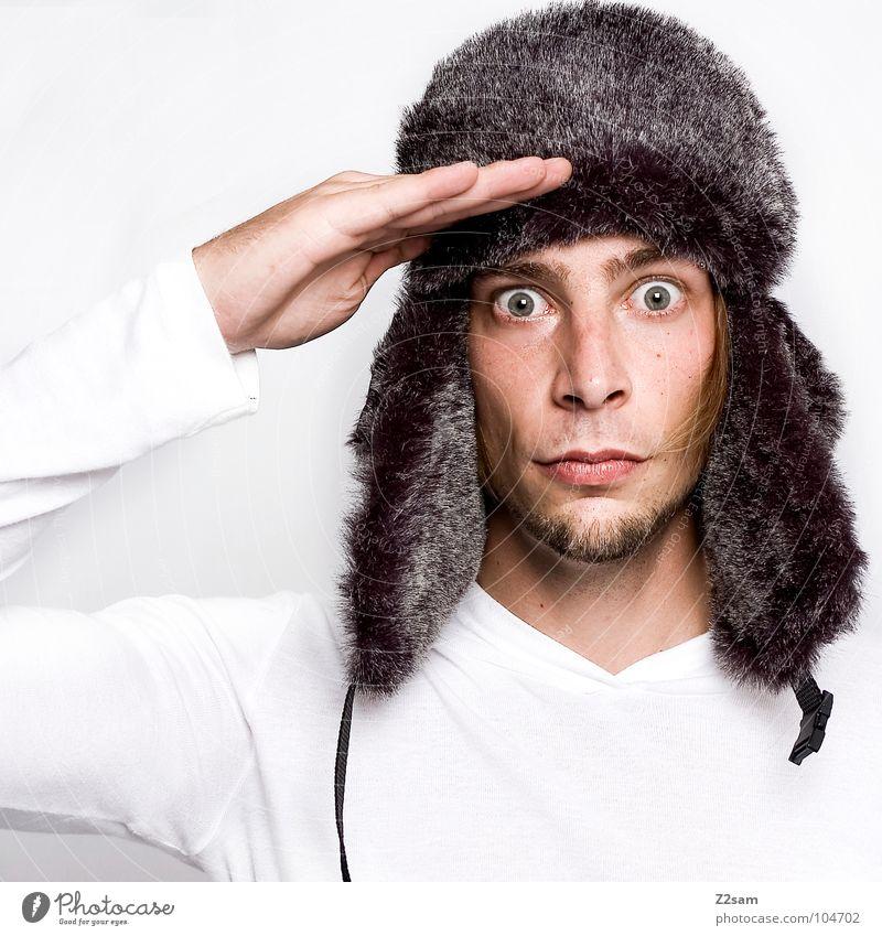 Man Hand White Winter Face Calm Cold Arm Masculine Portrait photograph Ear Pelt Cap Russia Obedient Army