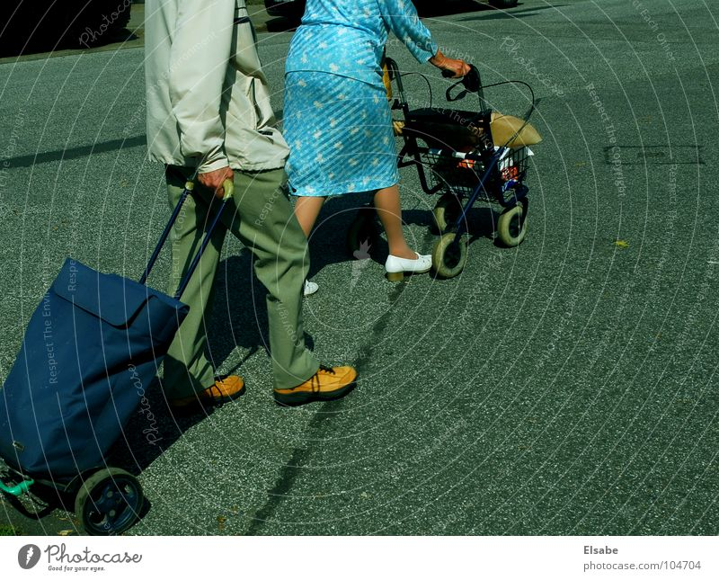 left-right-left and when free.... Shopping Senior citizen Dress Asphalt Slowly Calm Summer Morning Walking aid Assistant Incline Leisure and hobbies Generation