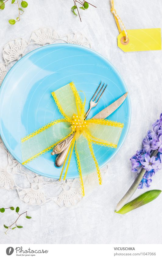 Blue plates with spring decoration Banquet Style Design Decoration Kitchen Restaurant Feasts & Celebrations Valentine's Day Mother's Day Easter Spring Flower