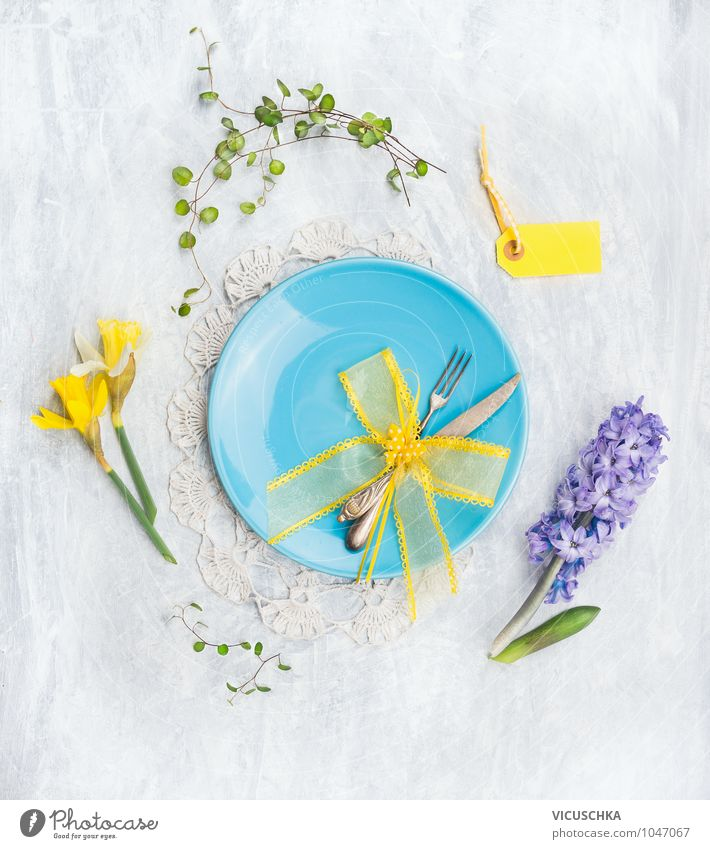Blue plates with knife, fork and spring flowers Nutrition Banquet Plate Knives Fork Style Design Kitchen Restaurant Spring Flower Yellow Pink Life Nature blue