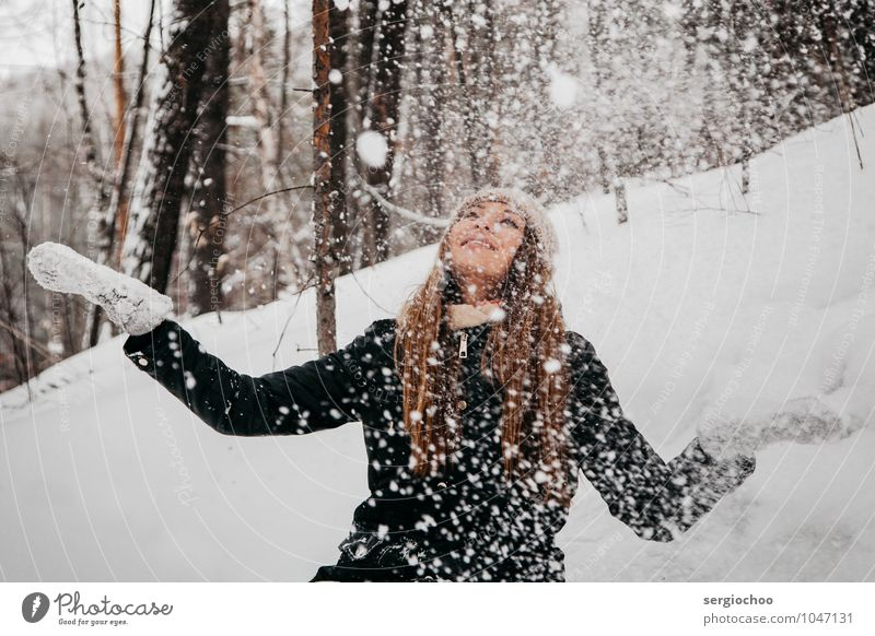 winter happiness Human being Child Nature Vacation & Travel Youth (Young adults) Beautiful Young woman Joy 18 - 30 years Winter Forest Adults Mountain Snow