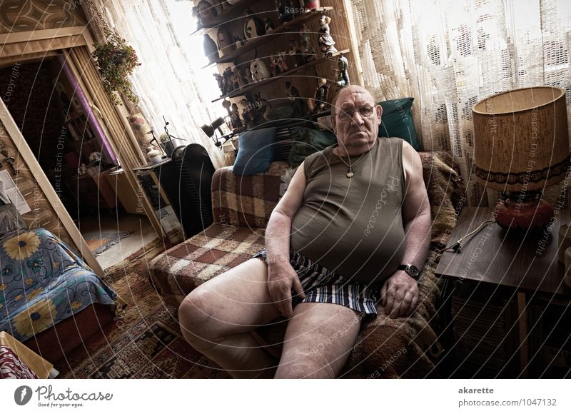 Human being Man Old Life Emotions Senior citizen Healthy Health care Moody Flat (apartment) Masculine Room Living or residing Sit 60 years and older Broken