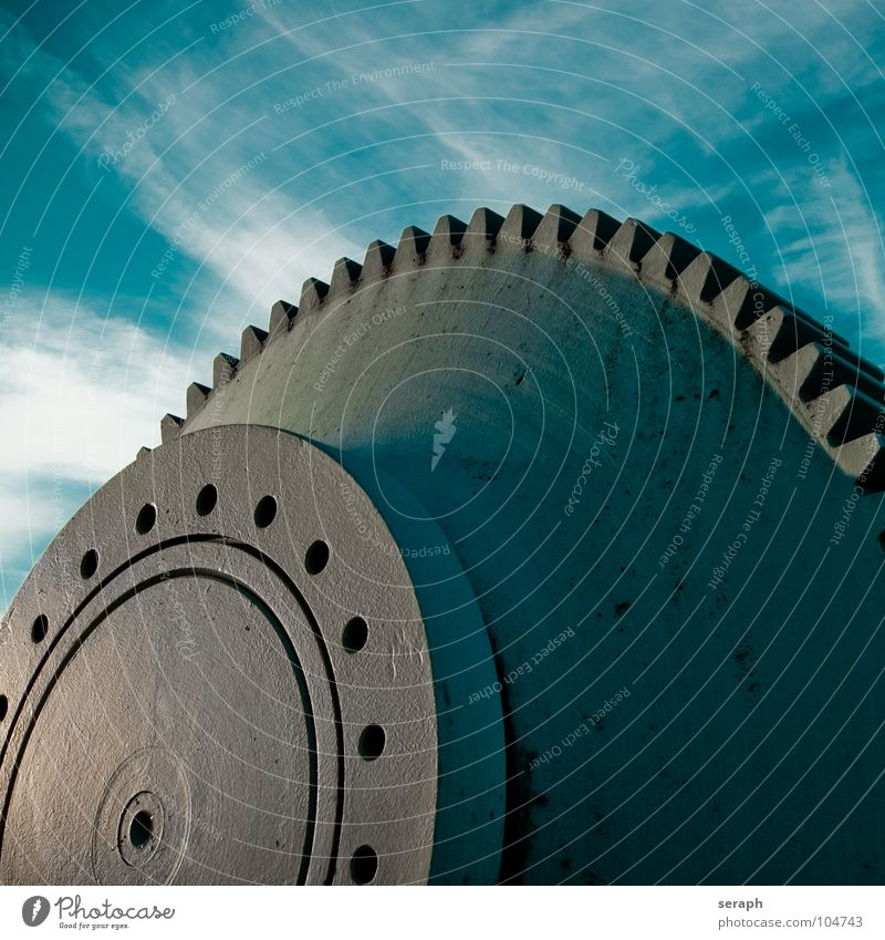 Sky Clouds Movement Time Metal Technology Force Industry Round Rust Wheel Monument Steel Construction Rotate Iron