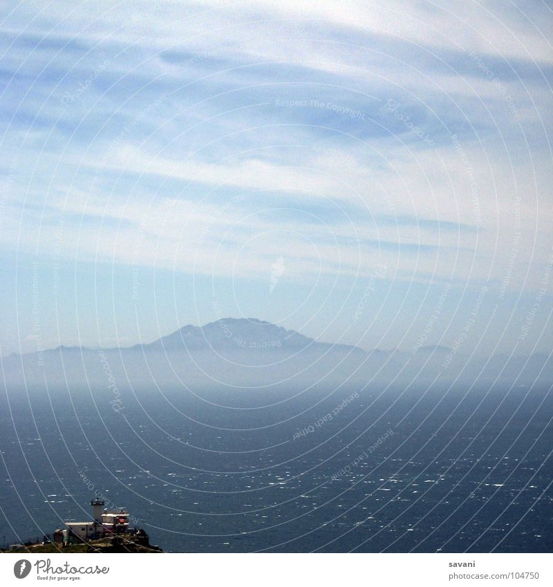 the other side Calm Vacation & Travel Far-off places Summer Ocean Waves Mountain Nature Water Sky Clouds Horizon Beautiful weather Wind Fog Coast Wet Blue