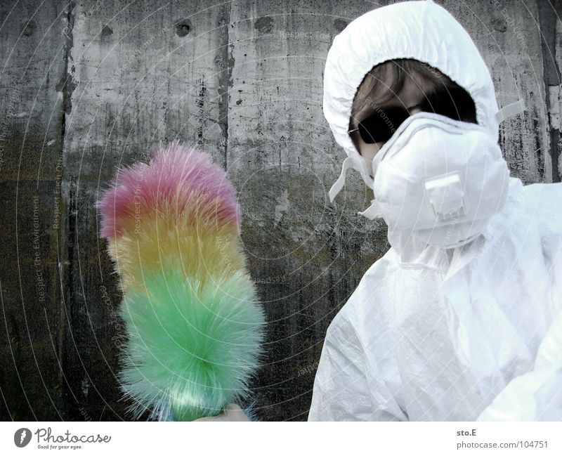 [b/w] wedelkämpfer #2 Fellow Posture White Working clothes Quarantine Laboratory Laboratory assistant Cleaning Cleaner Feather duster Multicoloured Mask