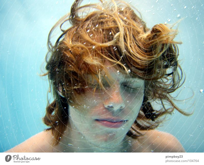 Underwater. Air bubble Swimming pool Red-haired Freckles Summer Relaxation To enjoy Underwater photo Dive Youth (Young adults) Guy Water Swimming & Bathing
