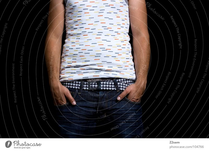 Human being Man Hand White Relaxation Style Brown Wait Arm Masculine Modern Cool (slang) Jeans T-shirt Stand