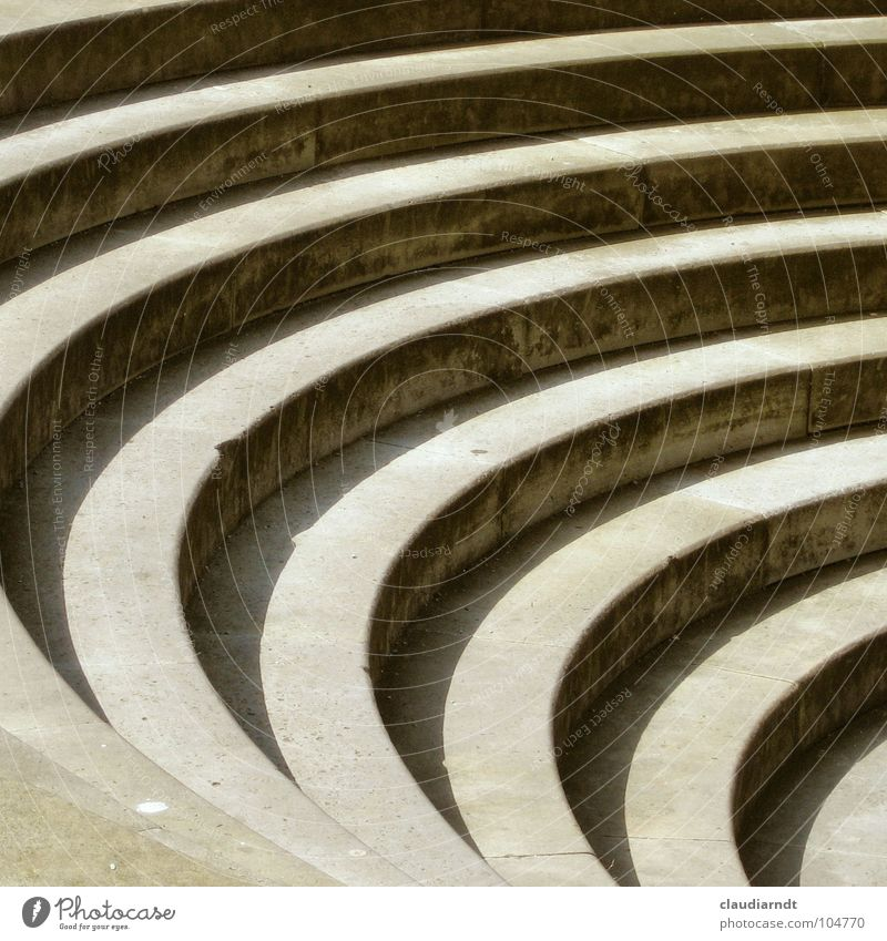 Calm Stone Concrete Circle Stairs Arrangement Simple Stripe Middle Traffic infrastructure Curve Geometry Smoothness Go up Striped