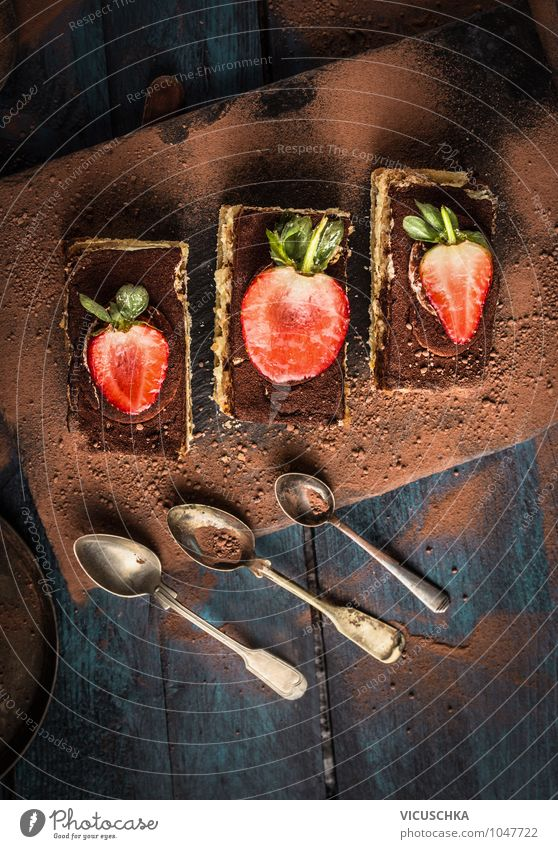 Tiramisu cake with chocolate and spoon Food Dough Baked goods Cake Dessert Chocolate Nutrition To have a coffee Vegetarian diet Italian Food Spoon Style Design