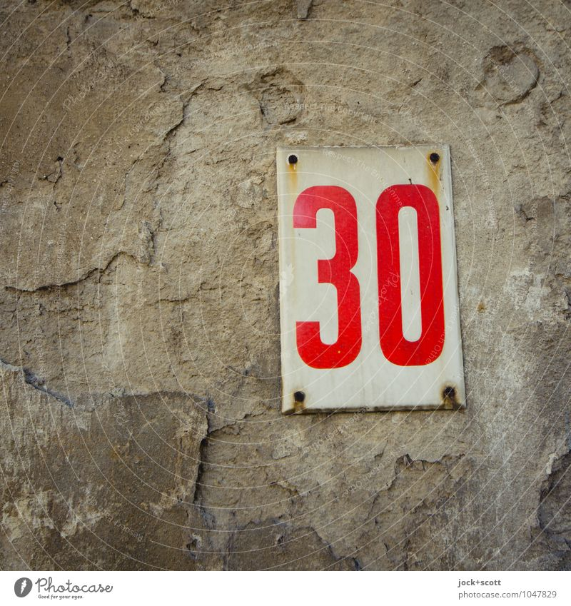 Focus of the Thirty Design Typography Budapest Metal Rust Signs and labeling 30 Rectangle Simple Retro Gray Red Decline Past Transience Fastening