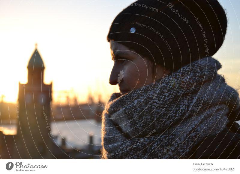 Hamburg - Landungsbrücken - woman - cap - winter - sun Feminine Woman Adults 1 Human being 30 - 45 years River Elbe Town Port City Tourist Attraction Breathe