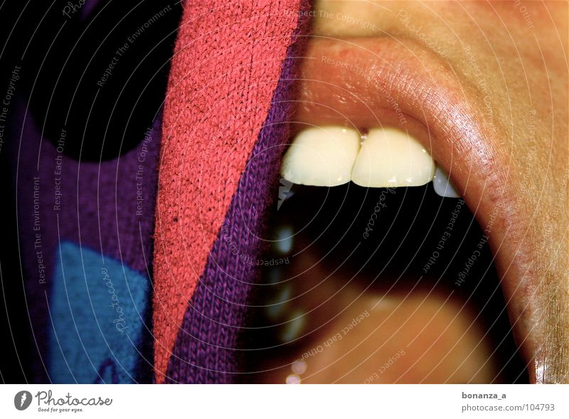 Woman Emotions Open Teeth Lips Kissing Sweater Magenta Caresses