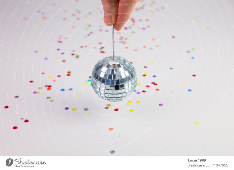 Disco Disco Skin Hand Fingers Fingernail Event Party Feasts & Celebrations Confetti Disco ball Carnival Mirror Rotate Dance Multicoloured Silver White Joy