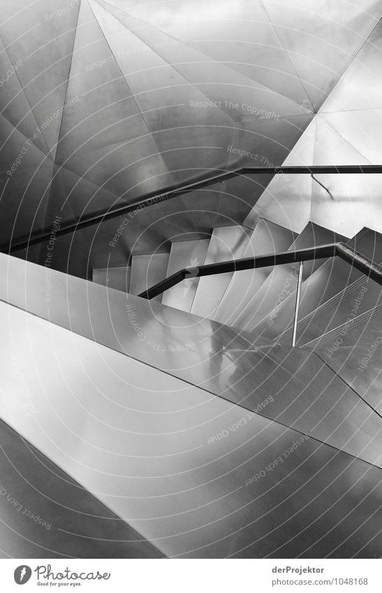 Silver staircase Vacation & Travel Tourism Sightseeing City trip Downtown Manmade structures Architecture Stairs Tourist Attraction Emotions Moody Success Power
