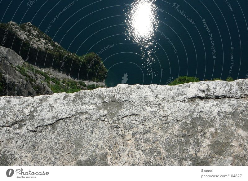 The Abyss Edge Blue Pattern Tree Relaxation Vacation & Travel Norway Footpath Gray White Green Summer Panorama (View) Water Stone Sun spieglung Mountain