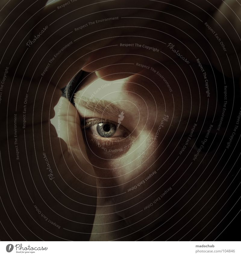 Human being Man Blue Hand Black Calm Face Eyes Dark Style Fear Fingers Hope Threat Curiosity Observe