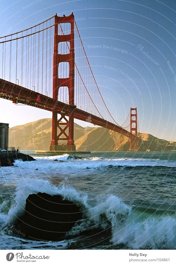 The red bridge... Golden Gate Bridge Red Steel Waves Swell Ocean San Francisco Foam Surfer Coast Dream Suspension bridge White crest Blue sky USA
