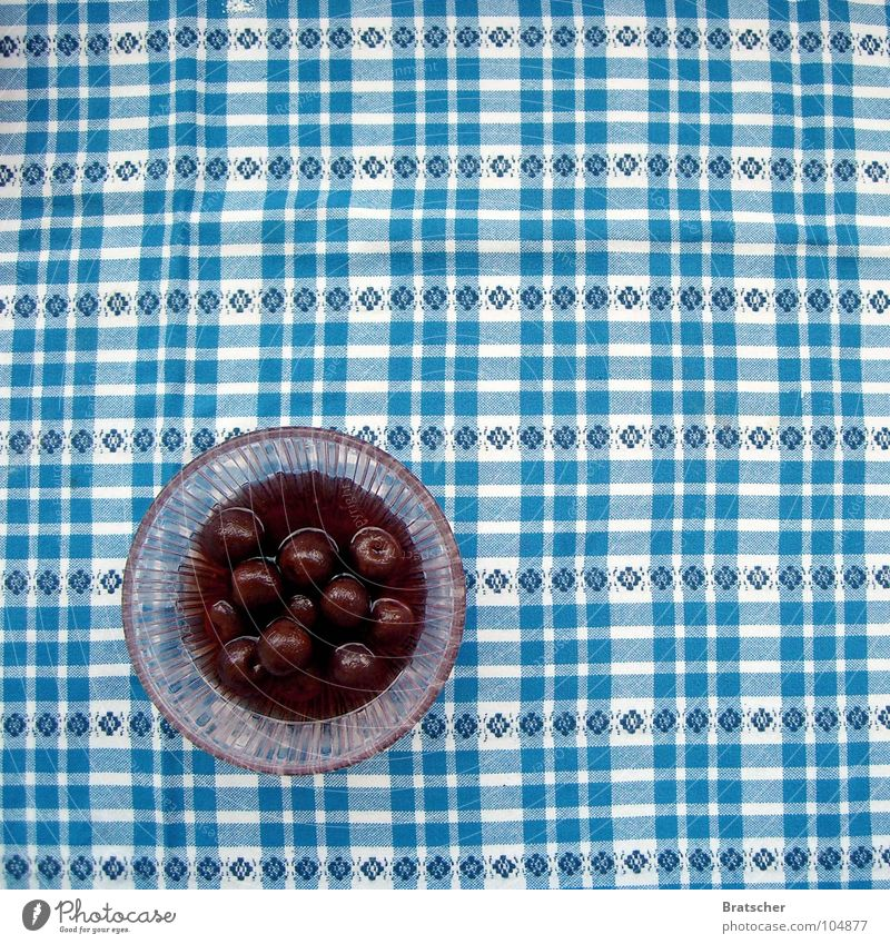 Born in 1984. Cherry Table Compote Bowl Red Fruit cherry red Checkered Food photograph Bird's-eye view Fruit bowl Dessert Fruity Pattern Tablecloth