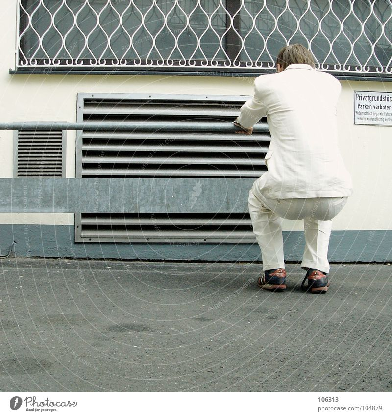 MORGENGYM: DRY EXERCISE ON IRON [KOLABO] Man Suit White Exterior shot Rear view Bottom Squat Body control Obscure Strange Copy Space bottom Ventilation shaft