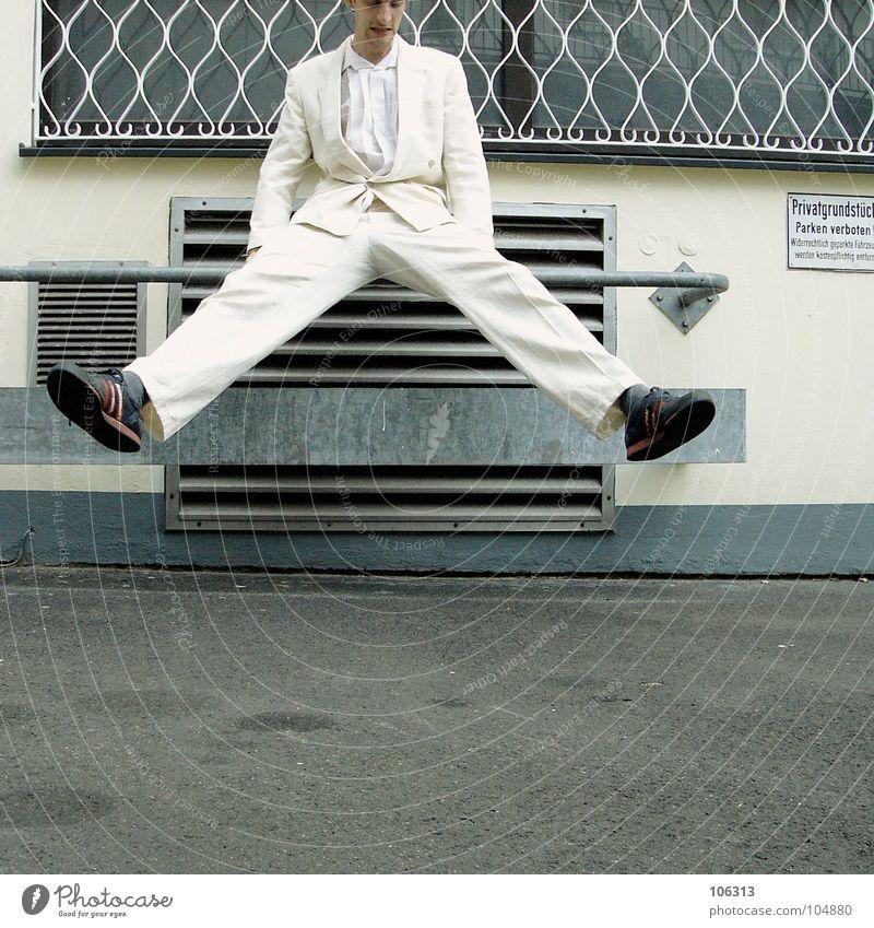 MORGENGYM: LEGS WIDE [KOLABO] Young man 18 - 30 years Suit White Exterior shot Body control Legs Trouser leg Splay Ventilation shaft Vent slot Ventilation flap