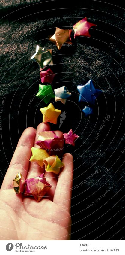 I'll get you the stars from heaven lll Hand Star (Symbol) Multicoloured Red Yellow Black Dark Dream Celestial bodies and the universe Blue