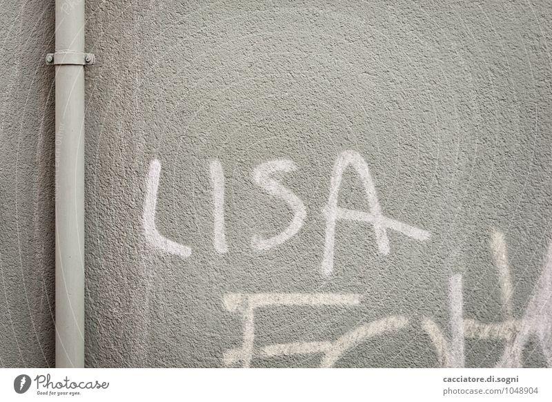 Lisa Work of art Wall (barrier) Wall (building) Conduit Pipe Downspout Downpipe Characters Graffiti Simple Feminine Gray White Joie de vivre (Vitality)