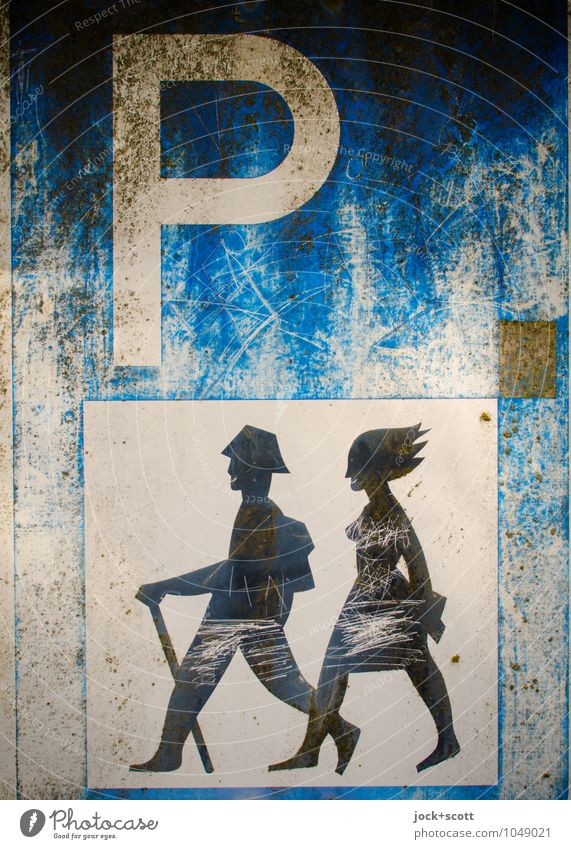 Park+Walk Joy Hiking Couple 2 Human being Typography Metal Road sign Pictogram Parking lot Scratch mark Relaxation Dirty Authentic Happiness Uniqueness Brown