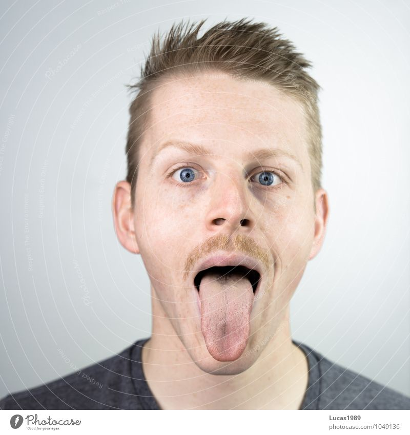 Bäääh Human being Masculine Young man Youth (Young adults) Man Adults Head Face Mouth Tongue 1 18 - 30 years Blonde Short-haired Facial hair Laughter Looking