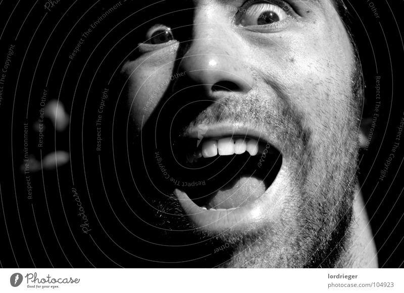 Human being Man Black Eyes Cold Head Mouth Fear Skin Teeth Scream Facial hair Loud