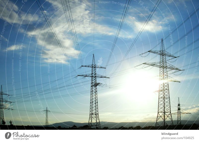 Sky Sun Blue Summer Clouds Landscape Line Bright Wind Industry Energy industry Electricity Cable Wind energy plant Solar Power Electricity pylon