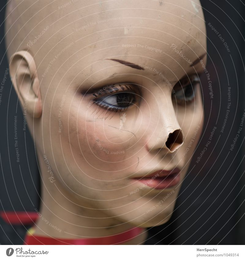 notice of loss Bald or shaved head Broken Beautiful Trashy Mannequin Model Face Scar Wound Nose Tip of the nose Lack Scratch mark Sadness Figure Doll Artificial