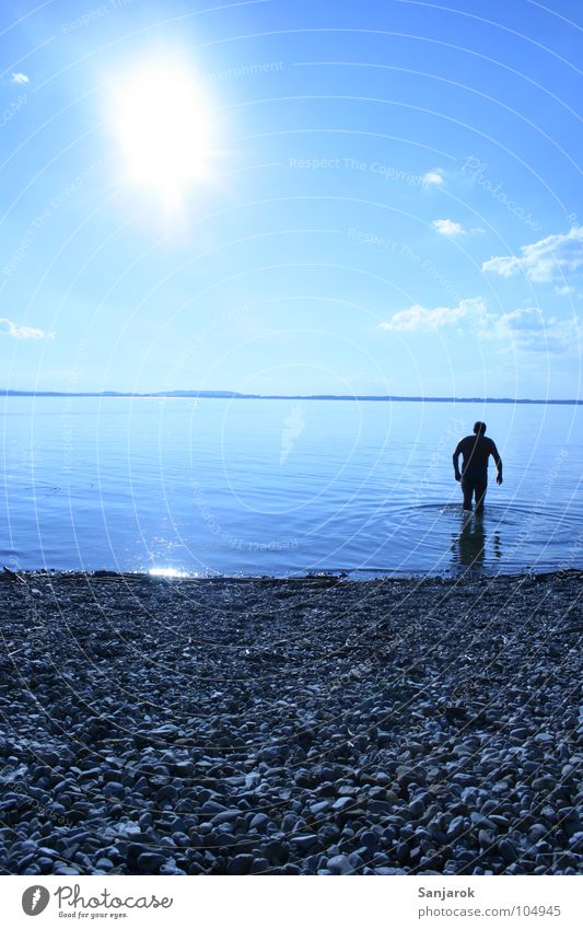 Bavarian Yeti Lake Chiemsee Ocean Pebble Beach Waves Reflection Clouds Summer Vacation & Travel Playing Water Blue Sun Coast Sky tilted position August Tilt