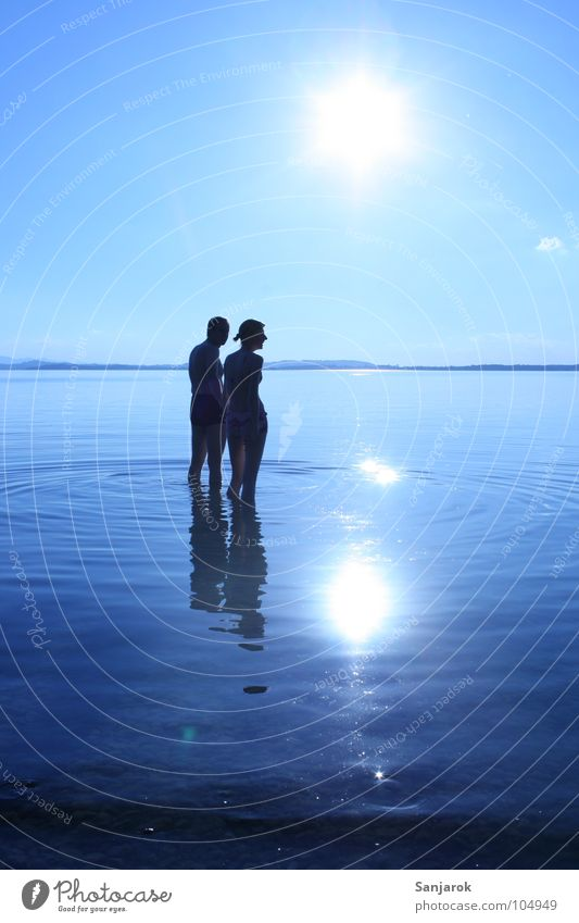 Freshly in love Lake Chiemsee Ocean Waves Reflection Clouds Bavaria Summer Vacation & Travel Lovers Cold Wet Water Blue Sun Coast Sky August Couple In pairs