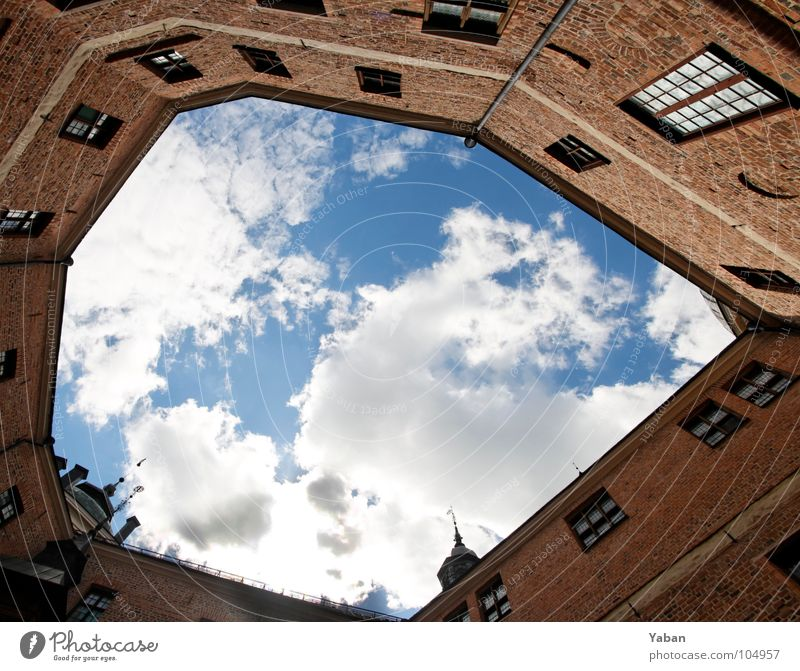 Sky Clouds Freedom Art Vantage point Culture Historic Captured Geometry Photography Sweden Picture frame Cramped Interior courtyard Mariefred